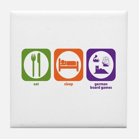 Eat Sleep German Board Games Tile Coaster