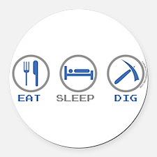 Eat Sleep Dig Round Car Magnet