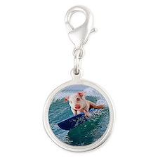 Surfing hot pig Silver Round Charm