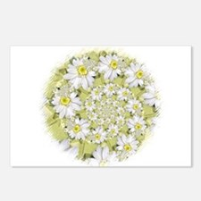 Fractal White Daisy Spiral2 Postcards (Package Of
