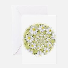 Fractal White Daisy Spiral2 Greeting Cards