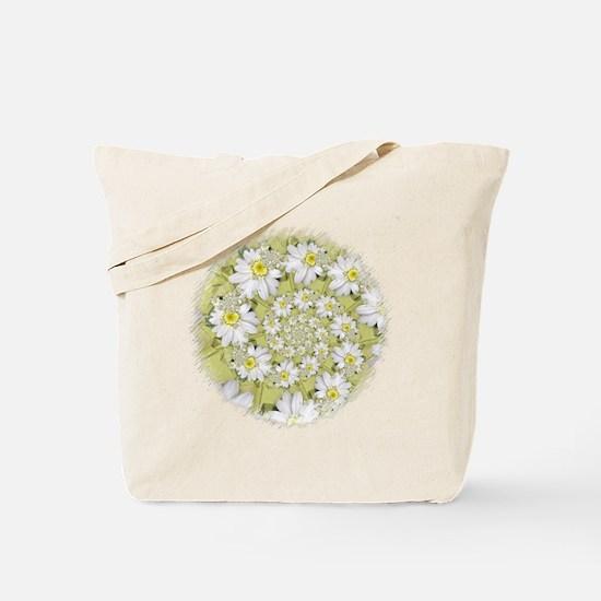 Fractal White Daisy Spiral2 Tote Bag