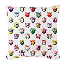 World Flags Soccer Balls Woven Throw Pillow