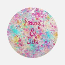 Girly neon Pink Teal Abstract Splat Round Ornament