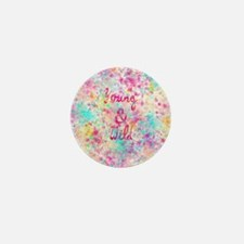 Girly neon Pink Teal Abstract Splatter Mini Button