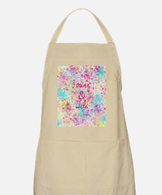 Girly neon Pink Teal Abstract Splatter Typog Apron