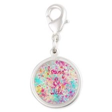 Girly neon Pink Teal Abstract  Silver Round Charm