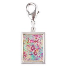 Girly neon Pink Teal Abstrac Silver Portrait Charm