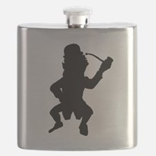 Leprechaun With Pipe Silhouette Flask