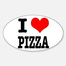 I Heart (Love) Pizza Oval Decal