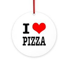 I Heart (Love) Pizza Ornament (Round)
