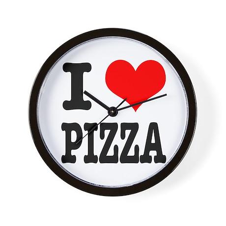 I Heart (Love) Pizza Wall Clock