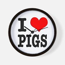 I Heart (Love) Pigs Wall Clock