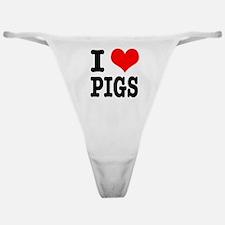 I Heart (Love) Pigs Classic Thong