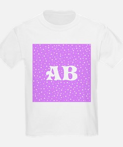 Custom Monogram Purple Spotted Pattern T-Shirt