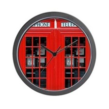Two British Phone Boxes Wall Clock
