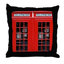 A Pair of British Phone Boxes Throw Pillow