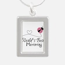 World's Best Mommy Silver Portrait Necklace