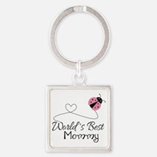 World's Best Mommy Square Keychain