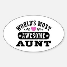 World's Most Awesome Aunt Sticker (Oval)