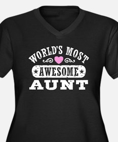 World's Most Awesome Aunt Women's Plus Size V-Neck