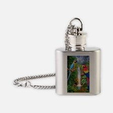 MACAW TROPICAL PARROTS Flask Necklace