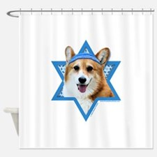 Hanukkah Star of David - Corgi Shower Curtain