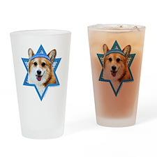 Hanukkah Star of David - Corgi Drinking Glass