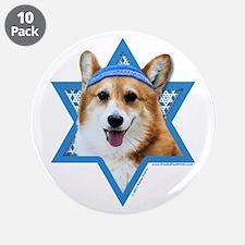 "Hanukkah Star of David - Corgi 3.5"" Button (10 pac"