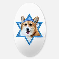 Hanukkah Star of David - Corgi Sticker (Oval)