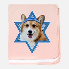 Hanukkah Star of David - Corgi baby blanket