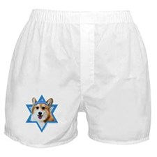 Hanukkah Star of David - Corgi Boxer Shorts
