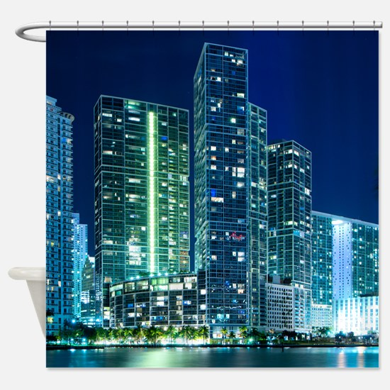 Downtown Miami at night Shower Curtain