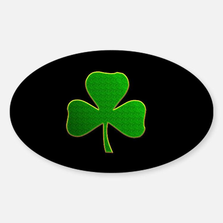 Lucky Irish Shamrock Sticker (Oval)
