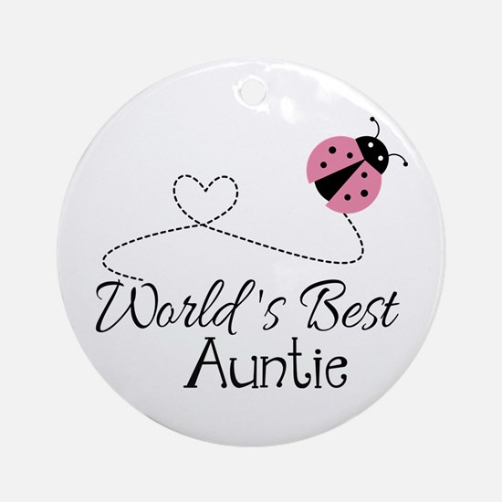 World's Best Auntie Ladybug Ornament (Round)