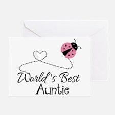 World's Best Auntie Ladybug Greeting Card