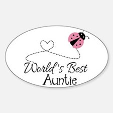 World's Best Auntie Ladybug Sticker (Oval)