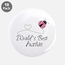 "World's Best Auntie Ladybug 3.5"" Button (10 pack)"