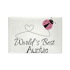 World's Best Auntie Ladybug Rectangle Magnet