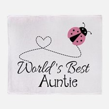 World's Best Auntie Ladybug Throw Blanket