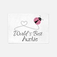 World's Best Auntie Ladybug 5'x7'Area Rug