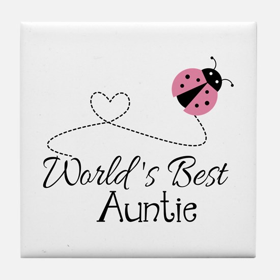 World's Best Auntie Ladybug Tile Coaster