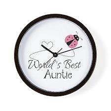 World's Best Auntie Ladybug Wall Clock