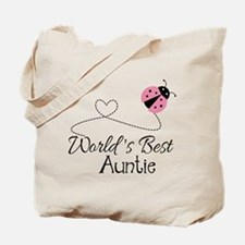World's Best Auntie Ladybug Tote Bag