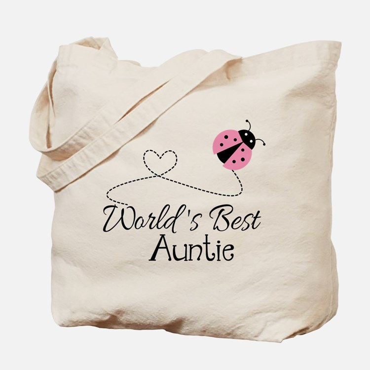 World's Best Auntie Ladybug Tote Bag