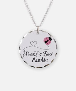 World's Best Auntie Ladybug Necklace Circle Charm
