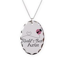World's Best Auntie Ladybug Necklace Oval Charm