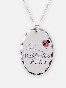 World's Best Auntie Ladybug Necklace Oval Charm