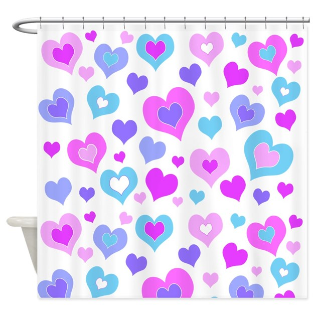 Cute Girly Hearts Shower Curtain By CreativeJoy