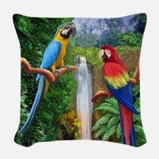 MACAW TROPICAL PARROTS Woven Throw Pillow